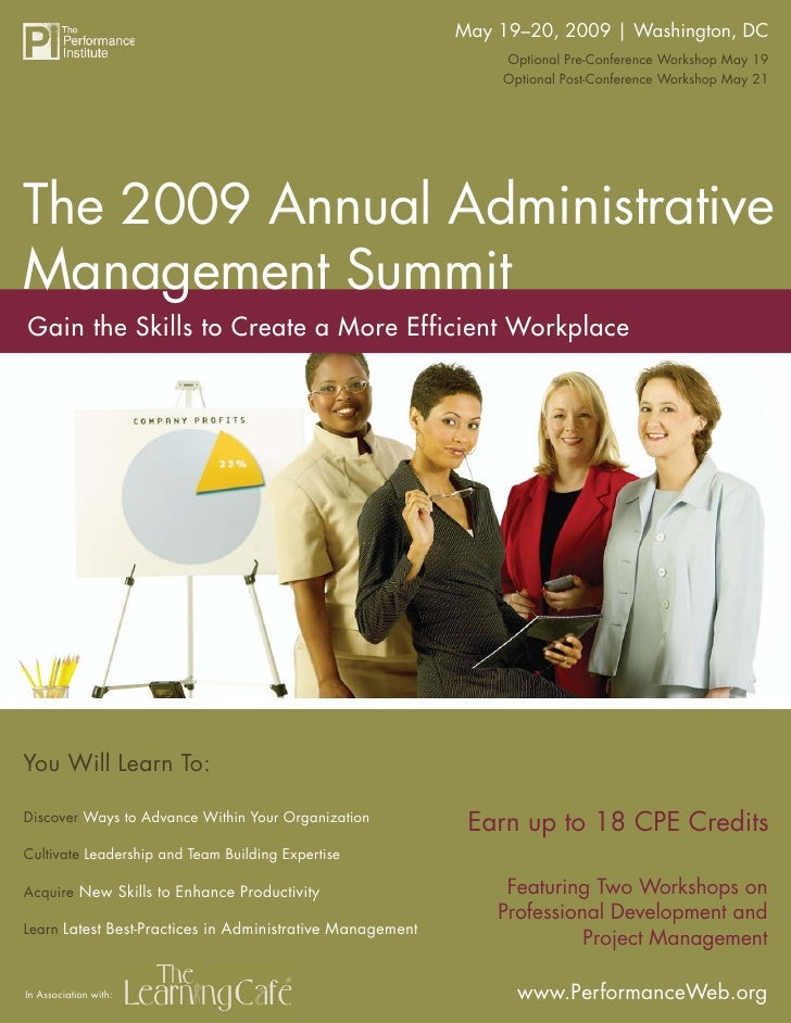 May 19–20, 2009 | Washington, DC                        The 2009 Annual Administrative Management Summit                  ...