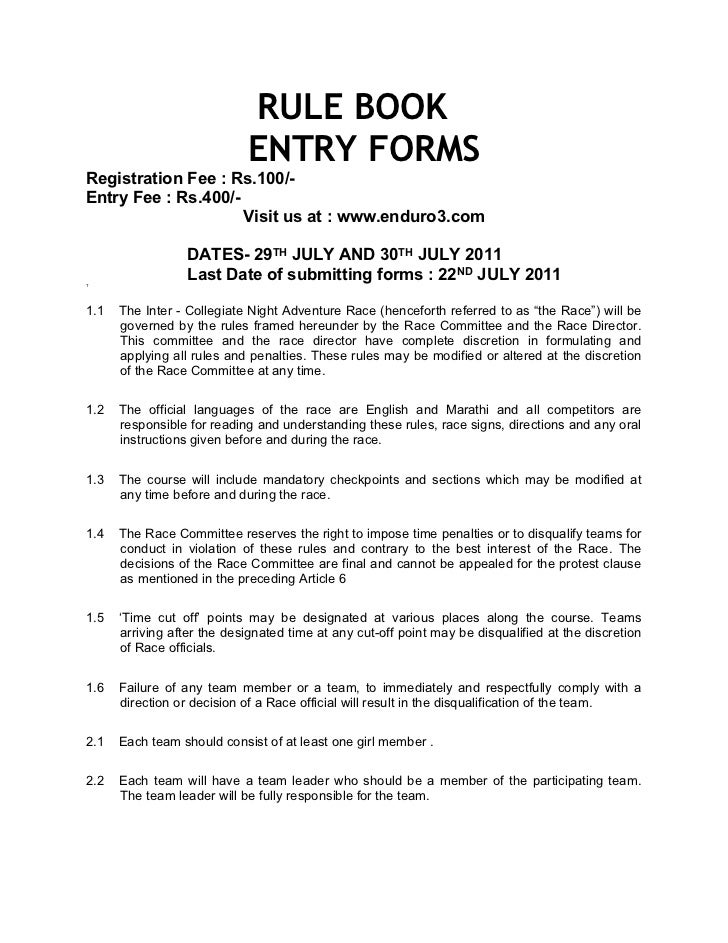 RULE BOOK                            ENTRY FORMSRegistration Fee : Rs.100/-Entry Fee : Rs.400/-                     Visit ...