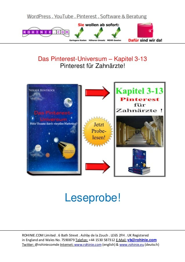 Das Pinterest-Universum – Kapitel 3-13 Pinterest für Zahnärzte!  Leseprobe!  ROHINIE.COM Limited . 6 Bath Street . Ashby d...