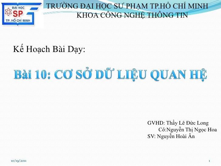 TRƯỜNG ĐẠI HỌC SƯ PHẠM TP.HỒ CHÍ MINH                   KHOA CÔNG NGHỆ THÔNG TIN Kế Hoạch Bài Dạy:                        ...