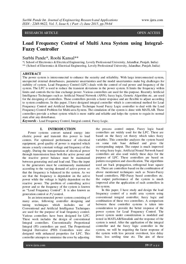 load frequency control dissertation