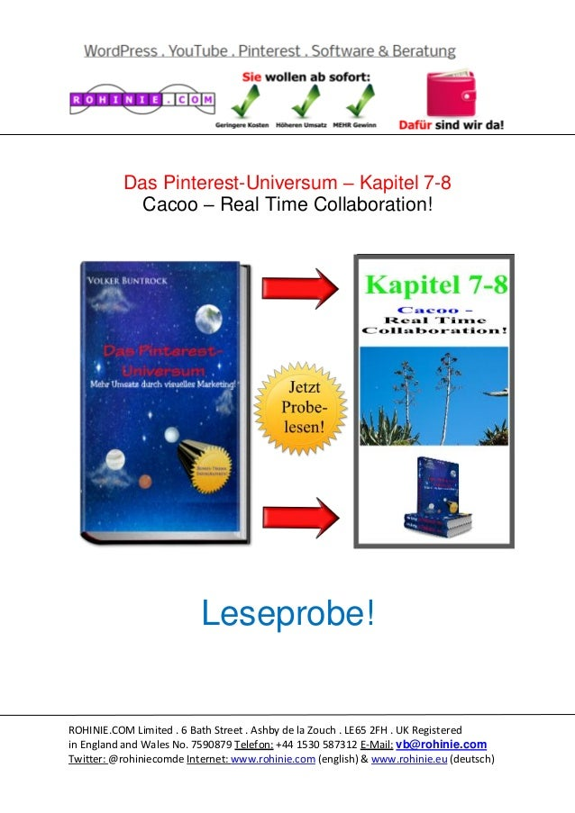 Das Pinterest-Universum – Kapitel 7-8 Cacoo – Real Time Collaboration!  Leseprobe!  ROHINIE.COM Limited . 6 Bath Street . ...