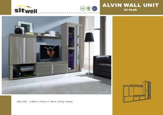 WALL UNIT: w 280 cm • d 40 cm • h 195 cm • 124 kg • 5 boxes ALVIN WALL UNIT hi teak