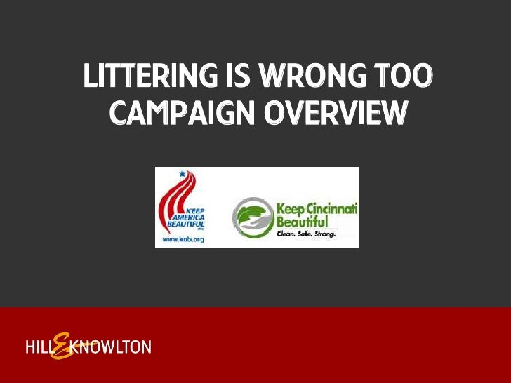 Littering is Wrong TooCampaign Overview<br />