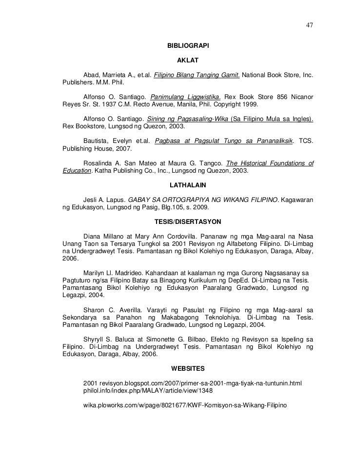 mga pamagat ng thesis sa filipino