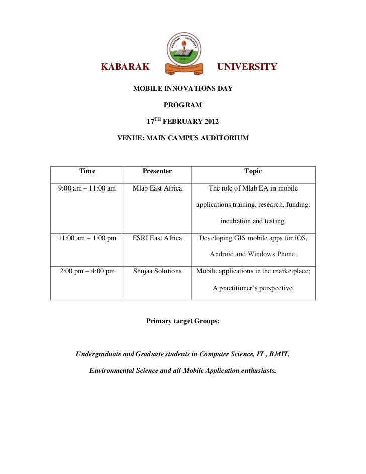Kabarak University Mobile Innovations Day 2012 Program