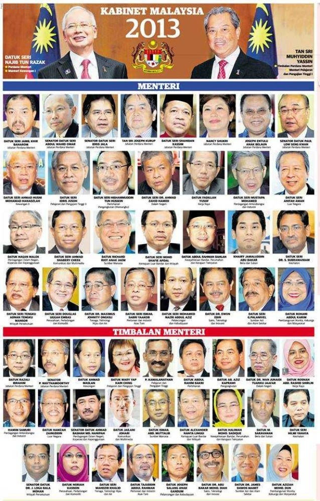 Kabinet malaysia 2013 carta organisasi menteri