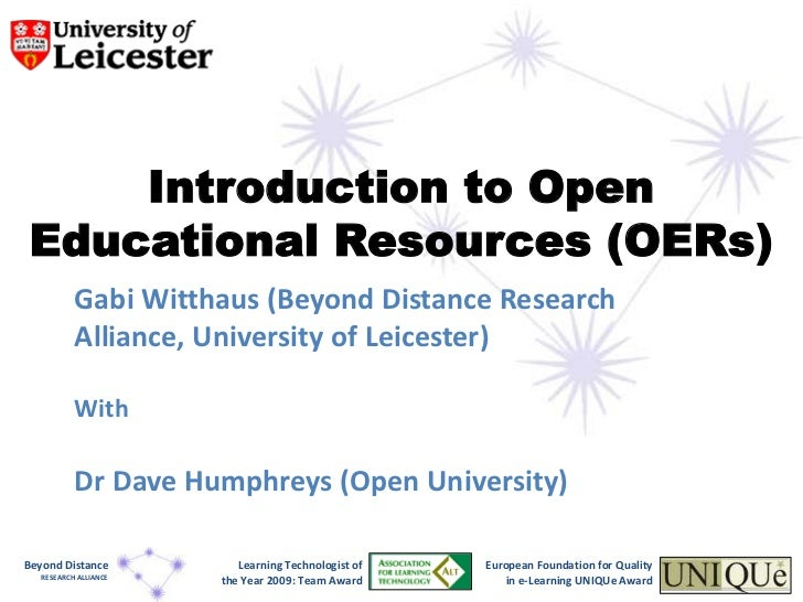 Introduction to Open Educational Resources (OERs)<br />Gabi Witthaus (Beyond Distance Research Alliance, University of Lei...