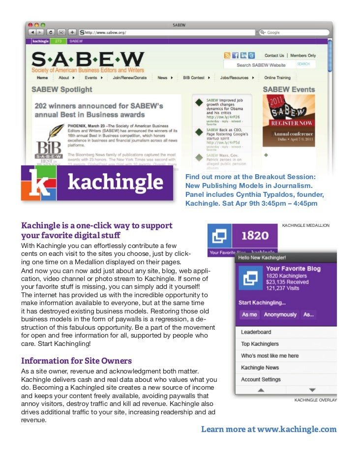 Kachingle handout for SABEW annual meeting 2011