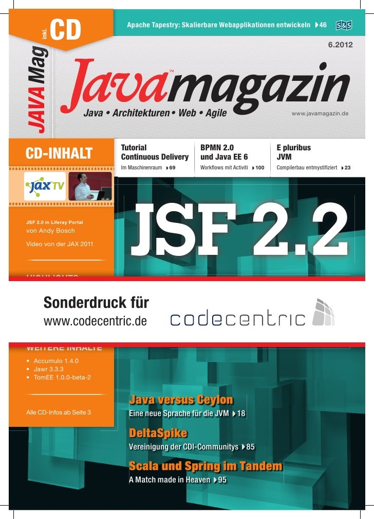 inkl.JAVA Mag       CD                       Apache Tapestry: Skalierbare Webapplikationen entwickeln                46   ...