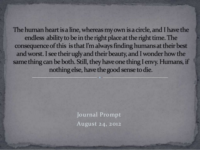 Journal Prompt August 24, 2012