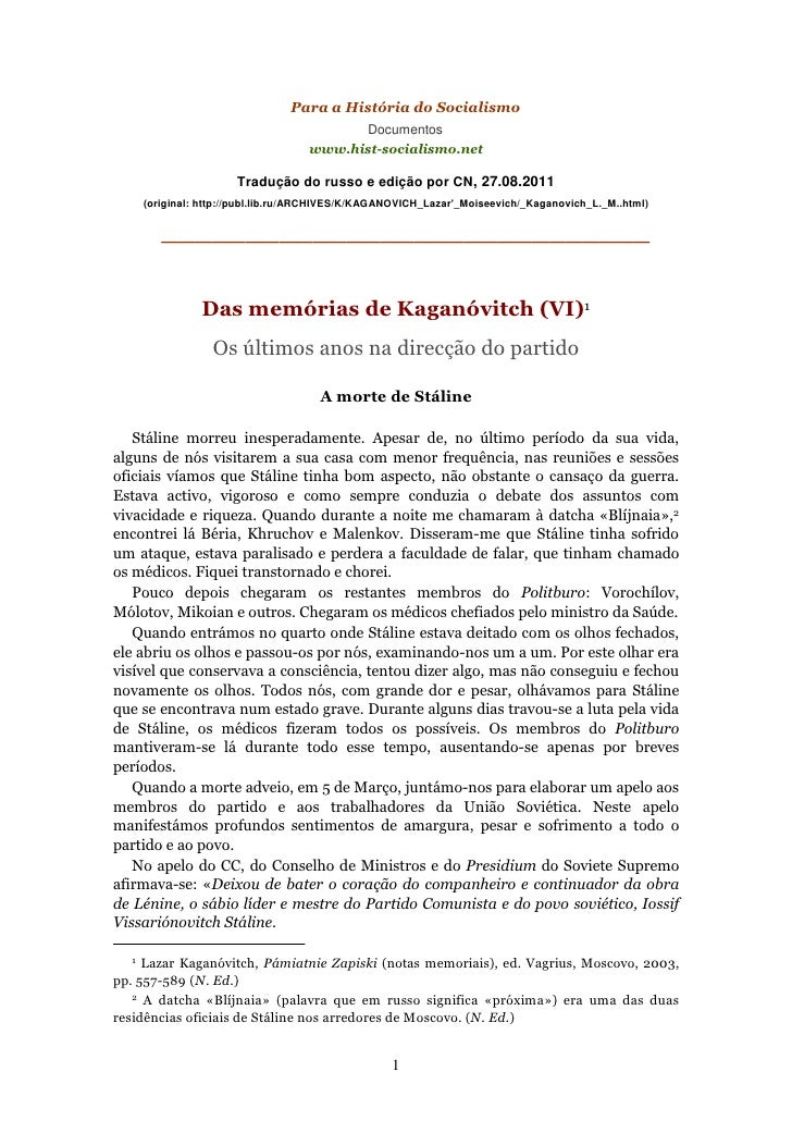 Kaganovitch ultimosanos