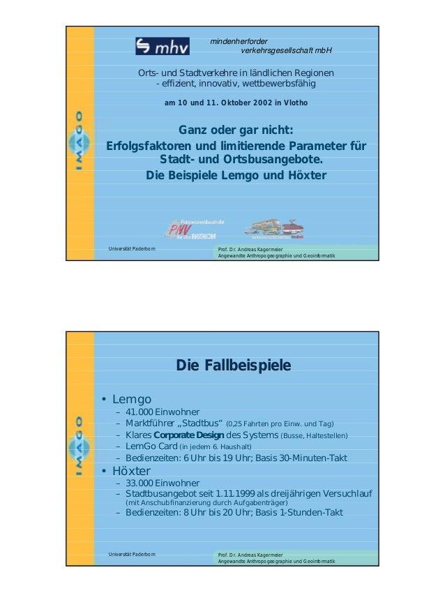 mindenherforder verkehrsgesellschaft mbH  Orts- und Stadtverkehre in ländlichen Regionen Orts- effizient, innovativ, wettb...