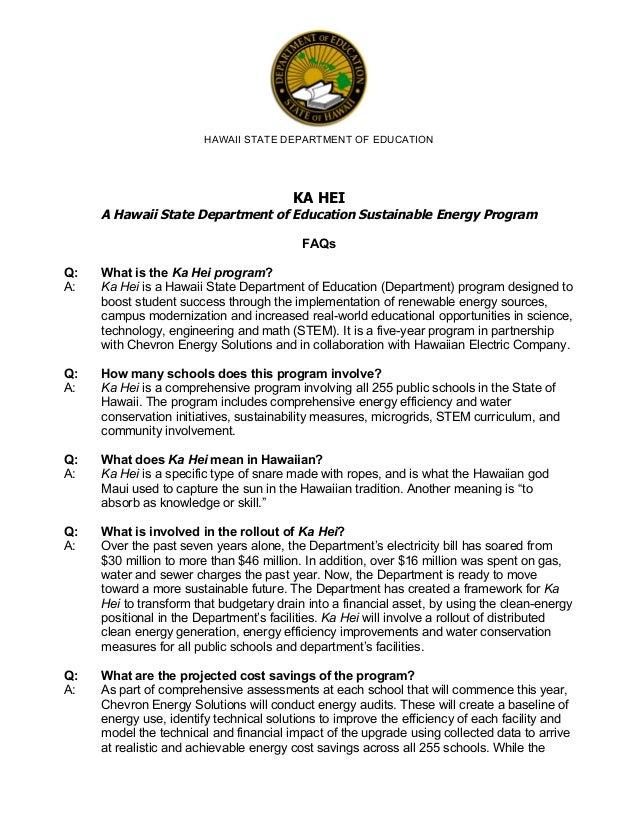 HAWAII STATE DEPARTMENT OF EDUCATION     KA HEI     Q: A:  A Hawaii State Department of Education Sustainable Energy P...