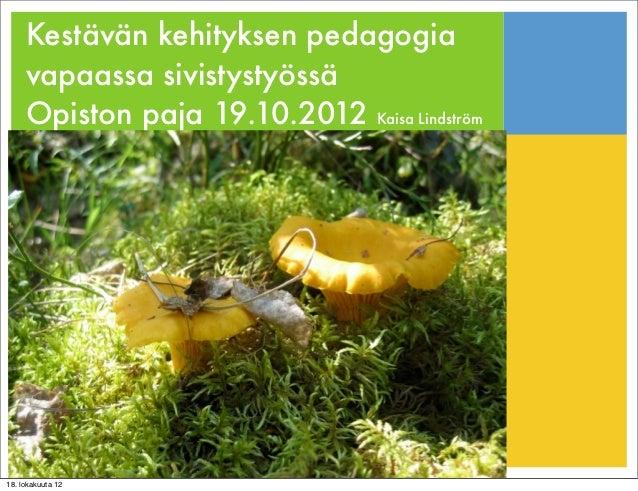 Kestävän kehityksen pedagogia     vapaassa sivistystyössä     Opiston paja 19.10.2012 Kaisa Lindström18. lokakuuta 12