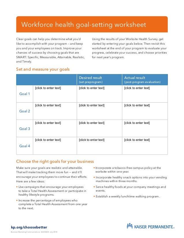 workforce health goal setting worksheet. Black Bedroom Furniture Sets. Home Design Ideas
