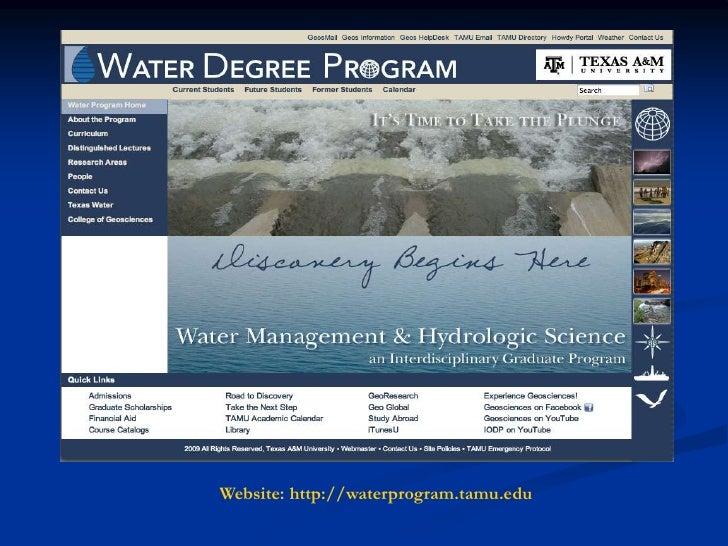 Ronald G. Kaiser, Water Degree Program