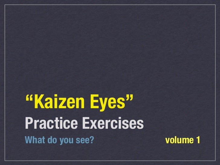 """Kaizen Eyes""Practice ExercisesWhat do you see?     volume 1"