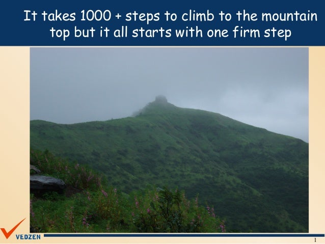 It takes 1000 + steps to climb to the mountain    top but it all starts with one firm step                                ...