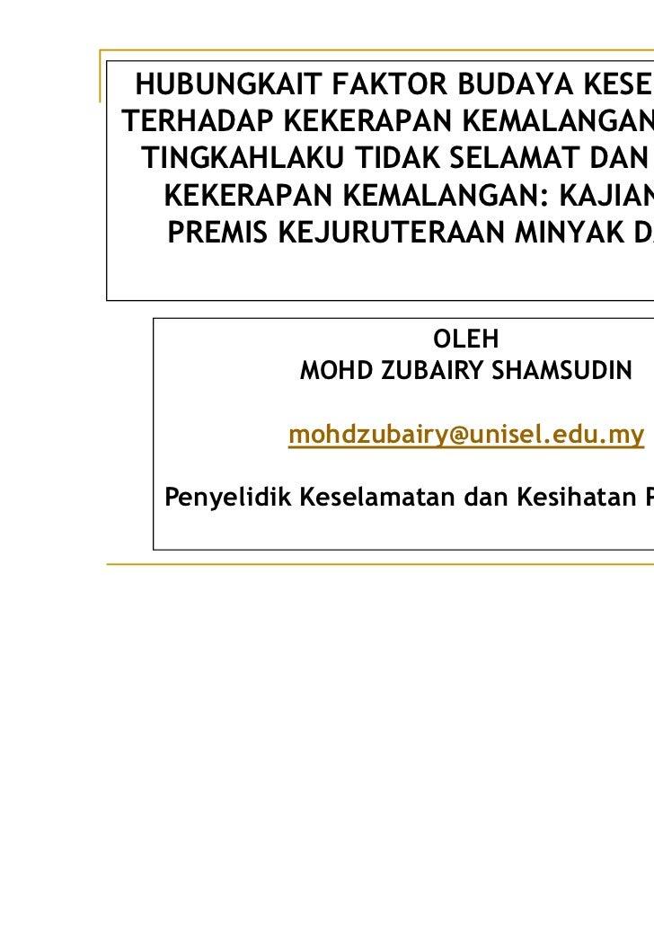 Kajian Kes Di Premis Kejuruteraan Minyak Dan Gas By En Mohd Zubairy Shamsudin
