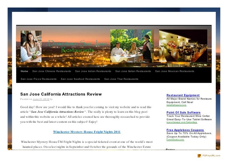 Home      San Jose Chinese Restaurants        San Jose Indian Restaurants   San Jose Italian Restaurants   San Jose Mexica...