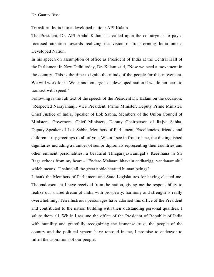 Kalam speech
