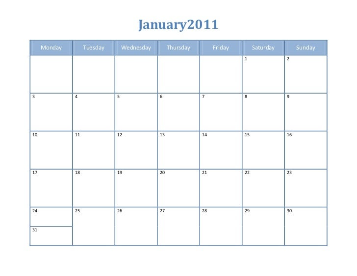 Kalendar  aktiviti january 2011