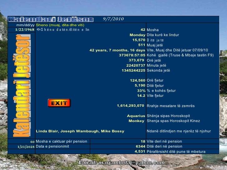 Kalendari jetësor   llogaritë vite, muaj, ditë orë dhe sekonda të jetës dhe vitet deri ne pension (shqip - albanian)