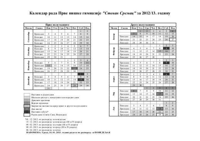 Календар рада Прве нишке гимназије ''Стеван Сремац'' за 2012/13. годину *01. 12. 2012. по распореду за понедељак 15. 12. 2...