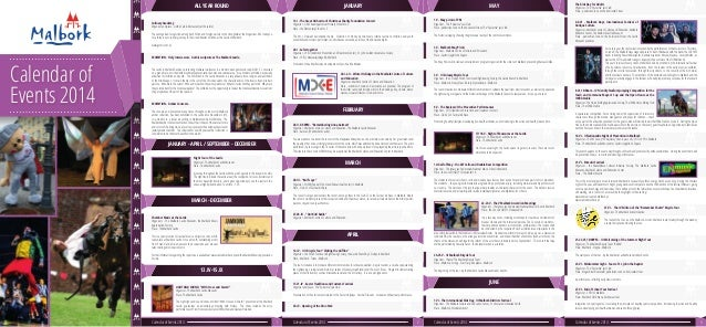 Calendar of Events 2014 JANUARY - APRIL / SEPTEMBER - DECEMBER MARCH - DECEMBER 13.IV-15.IX FEBRUARY MARCH APRIL MAYJANUAR...