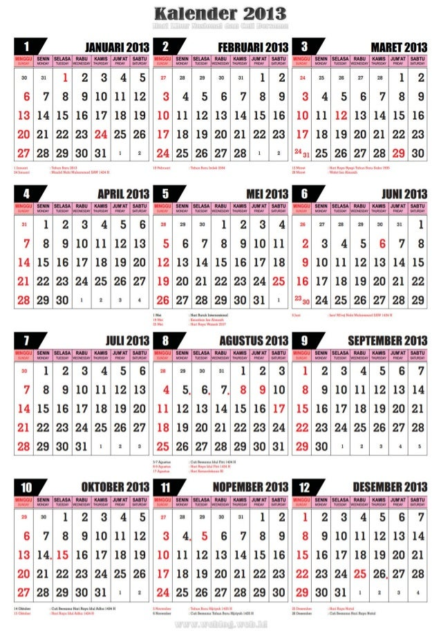 kalender 2013 disertai hari libur nasional dan cuti bersama. Black Bedroom Furniture Sets. Home Design Ideas