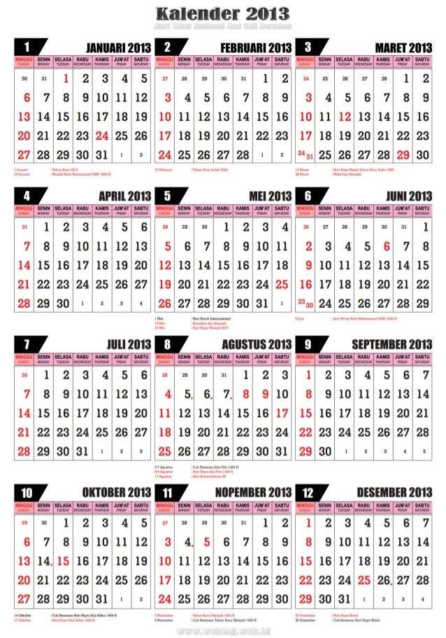Kalender 2013 disertai hari libur nasional dan cuti bersama