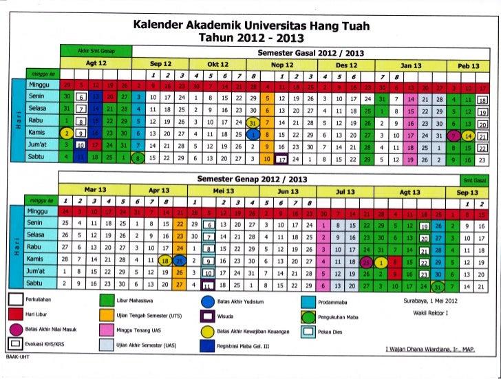 Kalender Akademik Universitas Hang Tuah                                                       Tahun 2AI,2 - 2013          ...