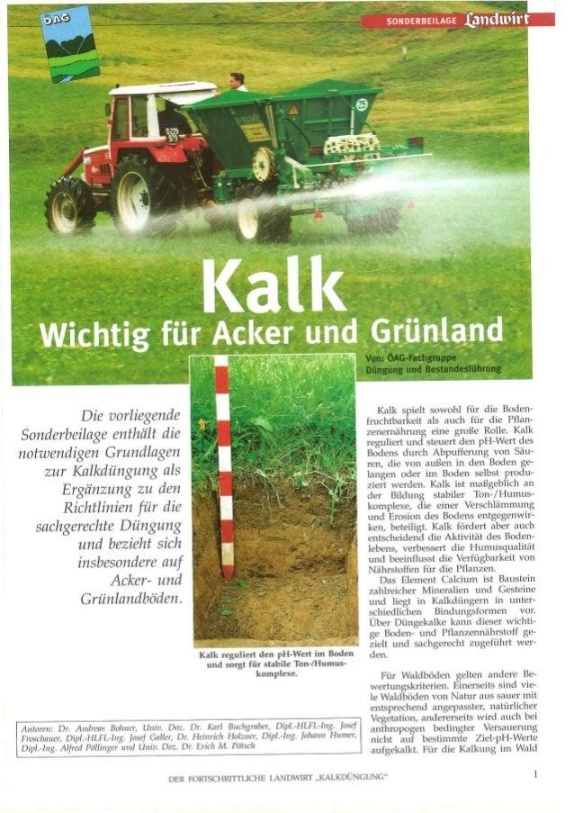 Kalk, wichtig für Acker und Grünland (Futterwiesen) ÖAG  2002