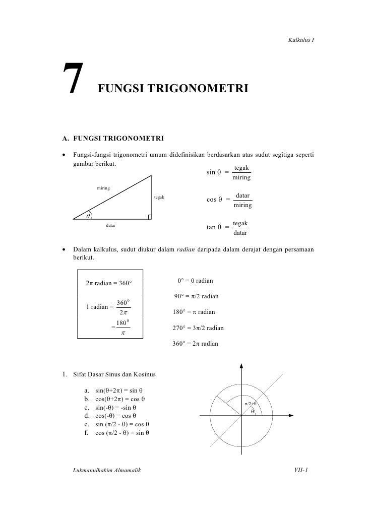 Kalkulus I7           FUNGSI TRIGONOMETRIA. FUNGSI TRIGONOMETRI•   Fungsi-fungsi trigonometri umum didefinisikan berdasark...