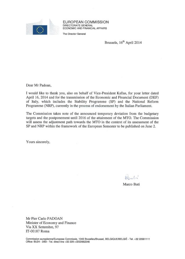 EUROPEAN COMMISSION DIRECTORATE GENERAL ECONOMIC AND FINANCIAL AFFAIRS The Director General Brussels, 16th April 2014 Dear...