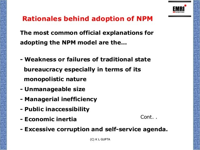 new public management New public management (npm) is an approach to running public service organizations that is used in government and public service institutions and agencies, at both.