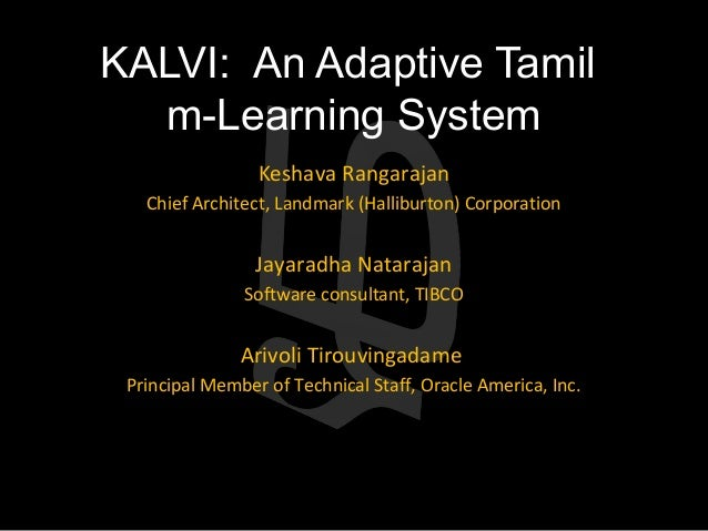Kalvi: An Adaptive Tamil m-Learning System