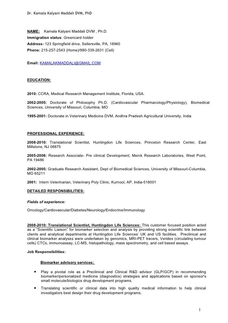 Dr. Kamala Kalyani Maddali DVM, PhDNAME:    Kamala Kalyani Maddali DVM , Ph.D.Immigration status: Greencard holderAddress:...