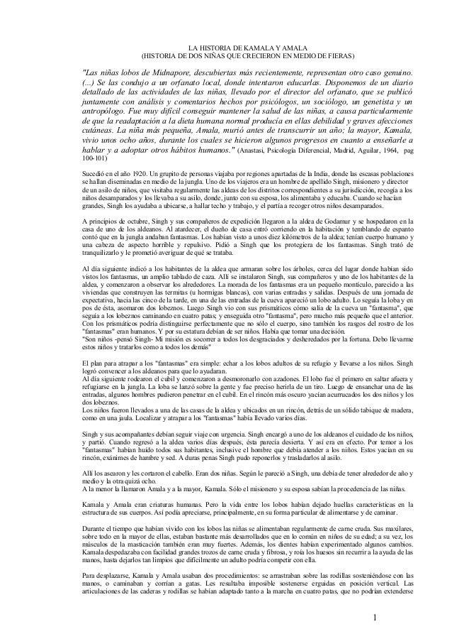 """LA HISTORIA DE KAMALA Y AMALA (HISTORIA DE DOS NIÑAS QUE CRECIERON EN MEDIO DE FIERAS) """"Las niñas lobos de Midnapore, desc..."""