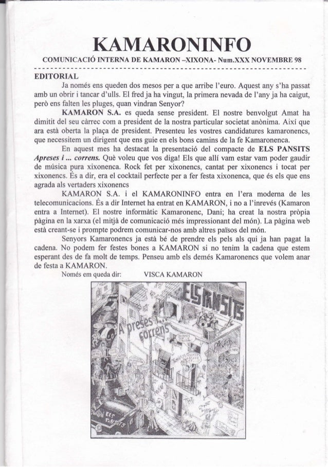 Kamaroninfo 30 novembre 1998