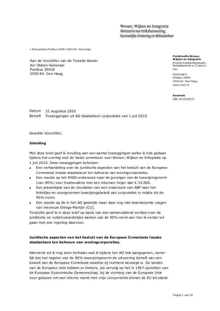 Kamerbrief 31 aug 2010 nav toezeggingen ao 1 juli 2010