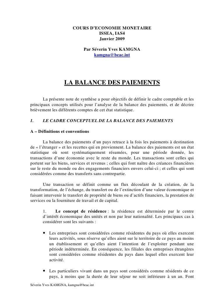 COURS D'ECONOMIE MONETAIRE                                  ISSEA, IAS4                                  Janvier 2009     ...