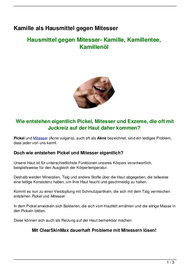 Kamille als Hausmittel gegen Mitesser        Hausmittel gegen Mitesser- Kamille, Kamillentee,                          Kam...