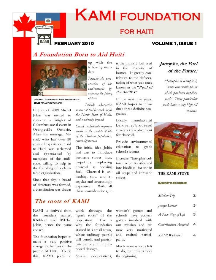 Kami foundation                                                                for haiti              FEBRUARY 2010       ...