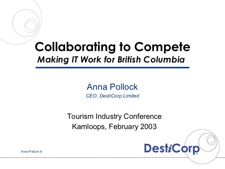 Collaborating to Compete Making IT Work for British Columbia  Tourism Industry Conference Kamloops, February 2003 Anna Pol...