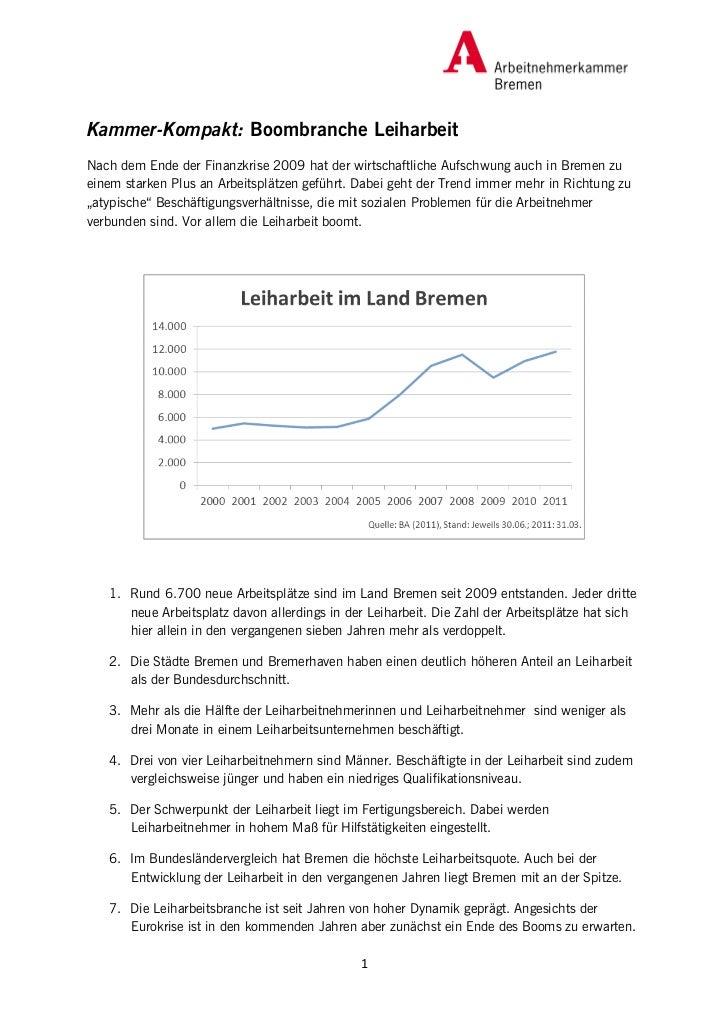 Kammer-Kompakt: Boombranche LeiharbeitNach dem Ende der Finanzkrise 2009 hat der wirtschaftliche Aufschwung auch in Bremen...
