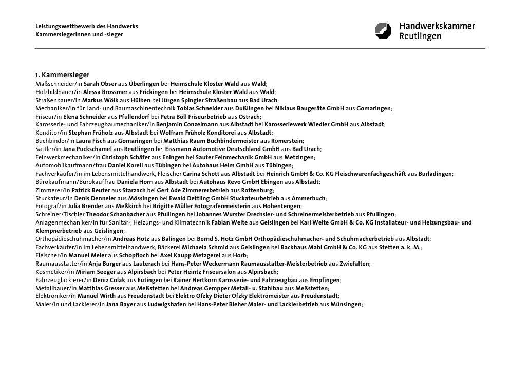 Leistungswettbewerb des HandwerksKammersiegerinnen und -sieger1. KammersiegerMaßschneider/in Sarah Obser aus Überlingen be...
