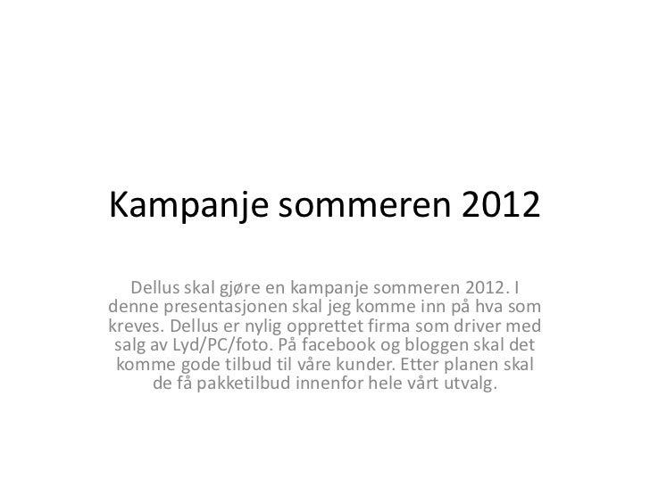 Kampanje sommeren 2012   Dellus skal gjøre en kampanje sommeren 2012. Idenne presentasjonen skal jeg komme inn på hva somk...