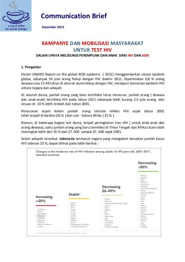 Communication Brief Desember 2013 KAMPANYE DAN MOBILISASI MASYARAKAT UNTUK TEST HIV DALAM UPAYA MELIDUNGI PEREMPUAN DAN AN...